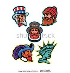 Mascot icon illustration set of heads of American and British mascots such as Uncle Sam, Paul Bunyan lumberjack, Beefeater or Yeoman, Cavalier ,Musketeer and Lady Liberty or Libertas in retro style. American Stock, Paul Bunyan, British, Retro Fashion, How To Draw Hands, Royalty Free Stock Photos, Cavalier, Retro Style, Drawings