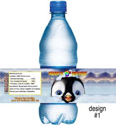Happy Feet Bottle Wrapper Birthday Party Favors or Invitations