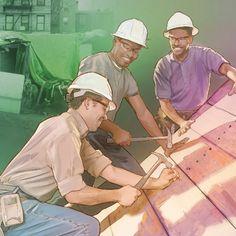 Persone che costruiscono case