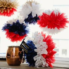 Americana Tissue Pom Poms