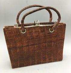 e53b5d5dba Vintage Genuine ALLIGATOR Handbag Purse Mid Century Gator KELLY BAG Brown -  E40 #Unbranded #