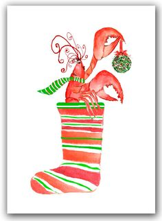 Lobster in stocking Christmas cards. set of 10. by ShirleyBell
