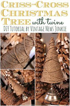 Criss-Cross Twine Mini Christmas Trees