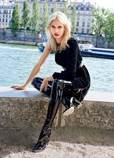 """fashion-boots: """"Aymeline Valade In Air France Madame August/september 2015 By Sonia Sieff """" Thigh High Boots Heels, Heeled Boots, High Heels, Crotch Boots, High Leather Boots, Patent Leather, Latex Girls, Long Boots, Sexy Boots"""