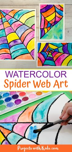 This watercolor spider web art is so fun and colorful. Kids will love making this easy Halloween and fall art project! This watercolor spider web art is so fun and colorful. Kids will love making this easy Halloween and fall art project! Halloween Art Projects, Fall Art Projects, Art Projects For Adults, Easy Halloween, Homemade Halloween, Project For Kids, Children Art Projects, Kids Art Lessons, Easy Kids Art Projects