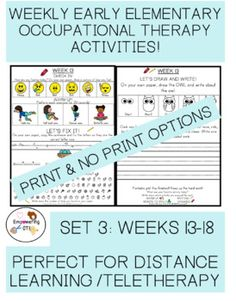 THIS IS THE THIRD SET (WEEKS 13-18) OF DISTANCE LEARNING, TELETHERAPY / WEEKLY WORK, FOR EARLY ELEMENTARY STUDENTS FOR OCCUPATIONAL THERAPY. This includes activities for fine motor, visual motor and visual perceptual skills! This is 6 weeks worth of distance learning fun / (or even in person therapy!) includes a weekly session of gross motor warm ups, copying sentences, visual perceptual game, directed drawing with writing and check out activity! Includes K,1 VERSION and 1st /2nd GRADE! Special Education Teacher, My Teacher, Gross Motor, Fine Motor, Occupational Therapy Activities, Directed Drawing, Sensory Processing Disorder, Learning Disabilities, Social Skills