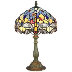 Blue Stained Glass Dragonfly Table Lamps for Living Room ($130) ❤ liked on Polyvore featuring home, lighting, table lamps, dragon fly lamp, blue lamp shade, blue lights, dragonfly lamp shade and tiffany style dragonfly lamp