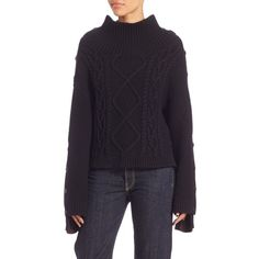 Rag & Bone Ida Cable-Knit Sweater ($159) ❤ liked on Polyvore featuring tops, sweaters, contemporary sp - workshop, long sleeve tops, oversized cable sweater, mock neck top, oversized sweater and cable knit sweater