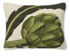 I happen to love artichokes as a meal but they are also a classic image for home decor. Bring it out of the kitchen with this needlepoint pillow cover. #aclearplace