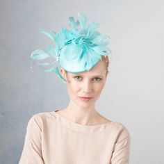 Amantha- Medium Straw Cocktail Hat with Feather