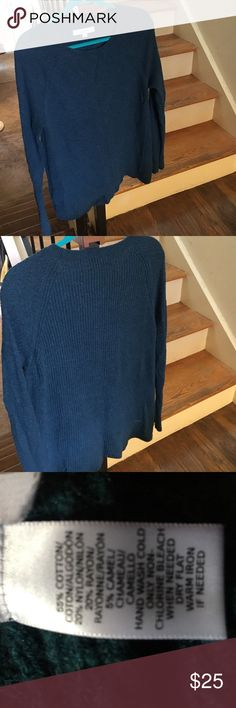 Loft teal sweater Loft teal sweater in good  condition. Round neckline. Longer in back than front. LOFT Sweaters Crew & Scoop Necks