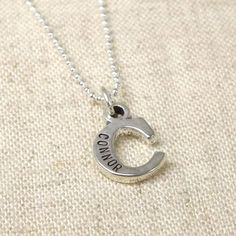 Initial or Letter Necklace with Name Hand Stamped  by StephieMc, $49.99