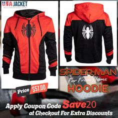 Spider-man Far From Home Hoodie is Amazing outfit for Spider vibes. This Hoodie Contains a Spider Logo on Black side which gives you an Iconic look. Get this outstanding Peter Parker Jacket hoodie now! Parker Jacket, Spiderman Hoodie, Man Logo, Black Side, Hoodie Jacket, Hoodies, Sweatshirts, Motorcycle Jacket, Cool Outfits
