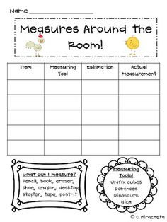 Here's a recording sheet for measuring items around the classroom in non-standard units.