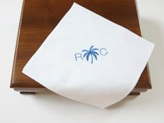 DonovanDesignLinens.com - MEN'S PALM TREE & Monogram Embroidered Pocket Squares, perfect as a gift for Dad, a Wedding Handkerchief for the Groom, Father of the Bride, and Groomsmen, perfect for Destination Weddings, or an Anniversary! - More monogrammed men's and ladies' handkerchiefs, home linens, and wedding accessories available from DonovanDesignLinens.com and DonovanDesignLinens shop on Etsy. Bride Gifts, Wedding Gifts, Gifts For Dad, Fathers Day Gifts, Cotton Anniversary, Wedding Handkerchief, Pocket Squares, Father Of The Bride, Destination Weddings