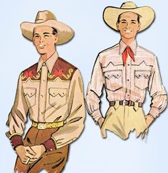 1950s Vintage McCall Sewing Pattern 1925 Mens Embroidered Western Shirt Size SM #WesternShirtPattern