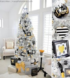 Gold, Black and White striped polka dot Modern Holiday Christmas Tree by Kara Allen | KarasPartyIdeas.com for Michaels | Dream Tree Challenge 2014 #MichaelsMakers #TagATree #DreamTreeChallenge