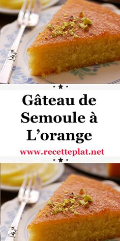 Gâteau de Semoule à L'orange This cake looks like nothing but I can tell you: it's an explosion in the mouth. An explosion of freshness, thanks to the orange, which invades your taste buds, tickles your palate and fills you with gustatory joy. Fall Dessert Recipes, Delicious Desserts, Breakfast Recipes, Breakfast Casserole, Bakery Recipes, Cooking Recipes, Savory Bread Puddings, Semolina Cake, Gastronomia