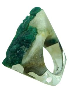 I take it all back! This is my dream ring!! Pasionae Emerald Ring - Cholera...pretty ring carved from an emerald stone #modern #emerald #ring