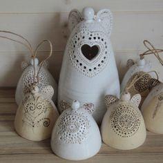 by adela volna Slab Pottery, Ceramic Pottery, Ceramic Art, Cement Crafts, Clay Crafts, Pottery Angels, Ceramic Angels, Angel Crafts, Ceramics Projects
