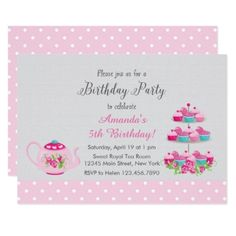 Tea Party Birthday Invitation - birthday invitations diy customize personalize card party gift