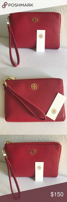 🆕 Tory Burch Large Leather Wristlet Authentic leather Tory Wristlet.  Fits all phone types. Inside zip pocket.  Large enough for all the necessities! Tory Burch Bags Clutches & Wristlets