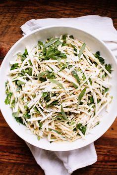 Happyolks | Raw Celery Root Salad with Apple, Caraway + Horseradish