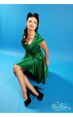 NWT PINUP COUTURE LARGE EMERALD GREEN EVELYN RETRO ROCKABILLY SATIN SWING DRESS