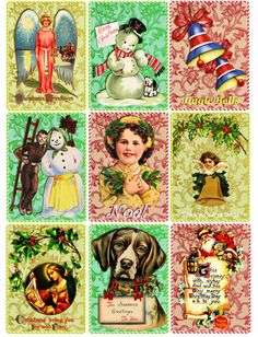 "Vintage Christmas Art clip art digital download COLLAGE SHEET printable clipart graphics 2.5"" x 3.5"" inch images"