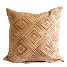 Cotton, in tangerine. Embroiderd fabric front with co-ordinated ultra-suede reverse. Orange Pillow Covers, Orange Pillows, Thom Filicia, Throw Pillows, Fabric, Cotton, Tejido, Cushions, Orange Pillow Cases