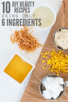 Learn how to make 10 easy DIY beauty products for your skin and hair using just 6 affordable ingredients. These work wonders, even on my acne-prone skin! :: DontWastetheCrumbs.com