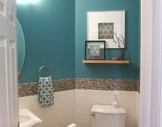 Love this color and tile for a small hall powder room! Beautiful!