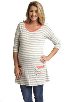Grey-Striped-Pocket-Front-3/4-Sleeve-Maternity-Tunic