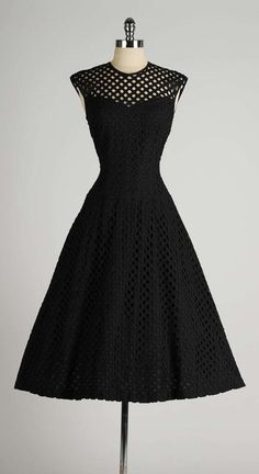 Vintage 1950's Dorothy Hubbs Embroidered Diamond Illusion Dress