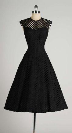 Vintage 1950's Dorothy Hubbs Embroidered Diamond Illusion Dress