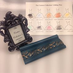 10 all natural Gilding Wax colors!  Shown: Silver Taffeta on black, Copper Charmeuse on Peacock.  #paintcouture
