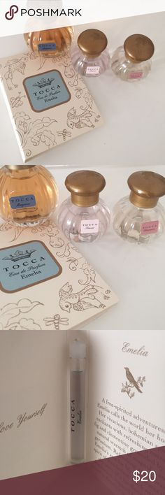 Tocca perfume samples Sample vial on card in Emilia, large sample in Margaux, deluxe sample in Simone all new never used. Deluxe sample in cleopatra used minimally 2-3 times. Sephora Accessories