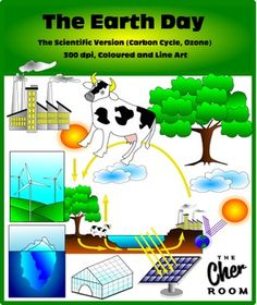 The more scientific (not so cutesy) version of Earth Day Cliparts in both coloured and line art includes:Carbon CycleOzone LayerSunIcebergWindmillSolar PanelCowTreeLakesideFactoryAll graphics at at 300 dpi, suitable for both personal and commercial use, but user is required to give credit to my store: https://www.teacherspayteachers.com/Store/The-Cher-Room