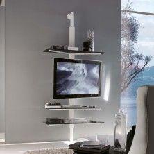 Kino schwenkbare TV-Wandhalterung an die Wand mit Ablagen aus Glas