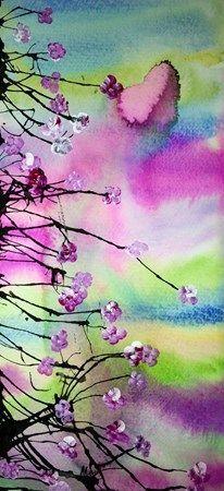 flores de cerejeira, experiências aquarela, nanquim, china.