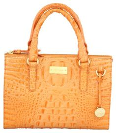 """$189.99-$235.00 Brahmin Melbourne Anywhere Convertible Croc Bag Cantaloupe - This lovely croc embossed Brahmin bag with brushed gold accents exudes sophistication. From the Alden collection, this """"Anywhere"""" bag is just as the name suggests, perfect handbag to take anywhere. If you don't favor a large bag, this is just the right size for everyday wear. Gold  Brahmin signature plate on the front.  Z ..."""