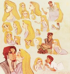 """""""Tangled Before Ever After was A Delight, so I drew a LOT OF RAPUNZEL, trying to figure out how the heck to draw her. Also Eugene. """""""