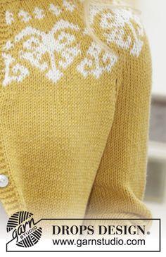 Golden Heart Jacket / DROPS 187-11 - Cardigan ai ferri con sprone rotondo, motivo jacquard norvegese e maniche a ¾, lavorato dall'alto verso il basso (top down). Taglie: Dalla S alla XXXL. Il cardigan è lavorato in DROPS Cotton Merino.