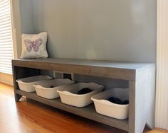 Diy entryway bench with shoe storage plans mudroom and build a architectures astounding Shoe Storage Bench Diy, Storage Bench With Baskets, Kitchen Storage Bench, Entryway Shoe Storage, Built In Bench, Storage Ideas, Shoe Bench, Storage Solutions, Entryway Ideas
