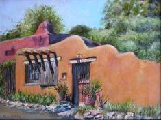 SANTA FE ADOBE An Original Southwestern Fine Art by KrugsStudio, $499.99. Priced reduced on this wonderful Southwestern styled painting of an actual home on Canyon Road in Santa Fe, NM.