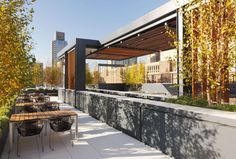 Skidmore, Owings & Merrill LLP  / The Grey Group Roof Deck is an alternative work and entertainment space on the roof of this renowned advertising agency's Flatiron office building.