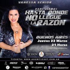 - MARZO EL MES DE @vanessasenior  FALTA MUY POCO!! BUENOS AIRES SACA TUS ANTICIPADAS!! - VANESSA SENIOR  @vanessasenior VUELVE !!! - Esta Vez con una Nueva producción  llena de esa energia única  también celebraremos su cumpleaños  NO TE LO PODES PERDER! - ANTICIPADAS  Www.Showticket.com.ar Taquillas de la @salasiranush (Armenia 1353) - Te invitan>> @shogatemakeria @venestore.ar @panachef  @alproductionsandmedia @snowentertainmentar - #StandUp #Comedy #Fun #Vanessasenior #SalaSiranush #Show…