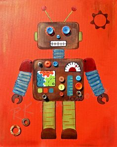 Childrens Art Print Rusty Robot 8x10 childrens by rkbrushworks, $16.00