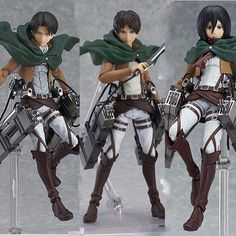 14cm Collectible Figures of Levi, Eren and Mikasa with movable parts and accessories