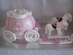 Awesome Princess Carriage and Horses Cake... This website is the Pinterest of birthday cake ideas